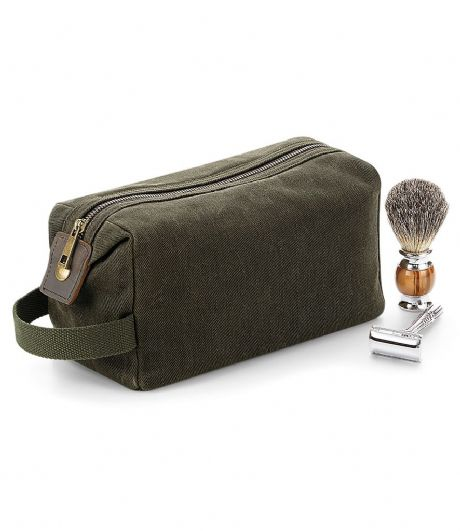 Retro military green waxed cotton wash bag, brilliant gift for the serving or veteran service personel.